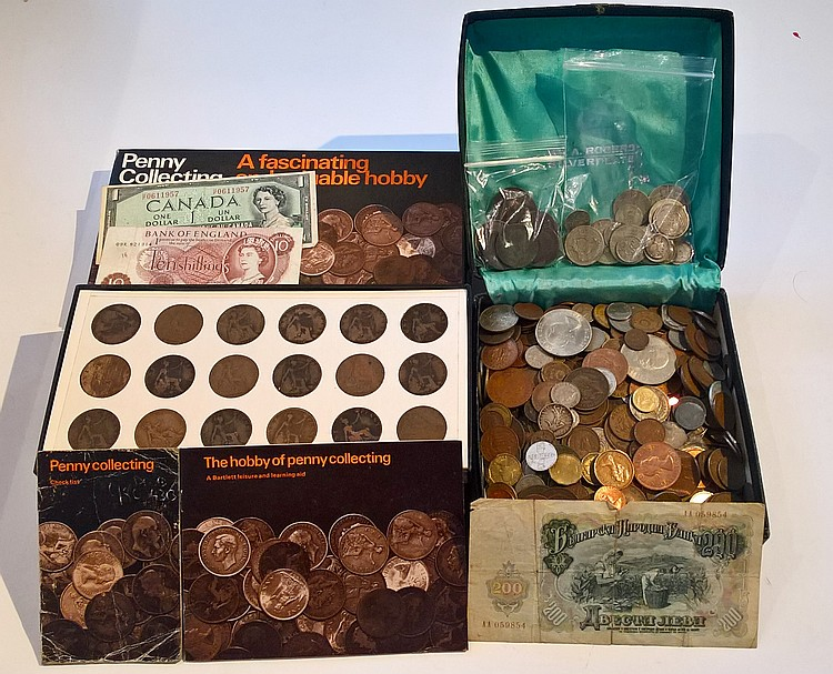 Box Containing Silver / Copper & Other Coins Inclu