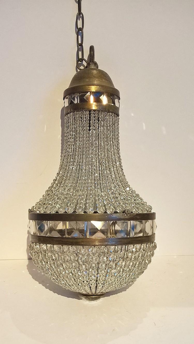 Regency Glass Bead / Brass Ceiling Light, 40cm hei