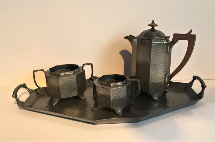 CRAFTSMAN SHEFFIELD PEWTER 1930's Art Deco Geometric Tea Set comprising Tea Pot