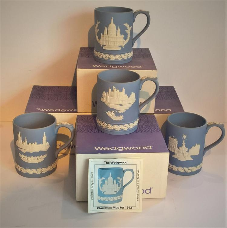 Blue & White Jasper Christmas Mugs 1971/2/3/4