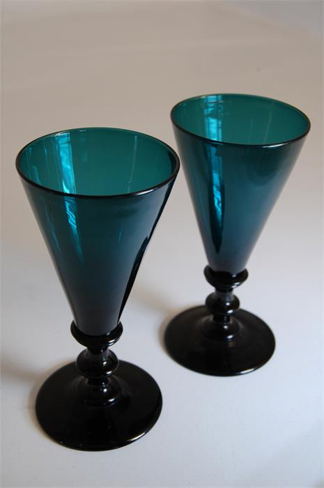 Pair Of Fine Georgian Wine Glasses Bristol Green Hand Blown