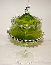 Green Art Glass Compote w/ Clear Pinched Fringe