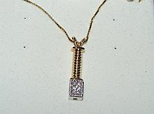 14k Gold Dangle Style Diamond Pendant & Chain 2.7g