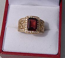 14k Gold Ring w/ Emrald Cut Garnet Gemstone Accented w/ over 1/2 Carat of Diamonds 5.3g
