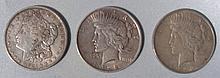 1 Morgan Dollar & 5 Peace Dollars : Peace - Morgan 1921-D; Peace 1922, 1922, 1923, 1923, 1923