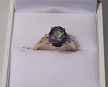 10k Gold Ring w/ Oval Cut Mystic Topaz Center Gemstone Accented w/ Diamonds 3.2g