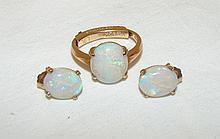 Australian Opal Ring w/ Guard & Earrings 5.1g, Size5