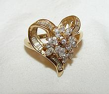 Marquis & Channel Diamond Cluster Heart Ring Approx .75ct, 5.6g, 14kt