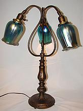 Quezal Lamp w/ Art Glass Shades (3 Shades)