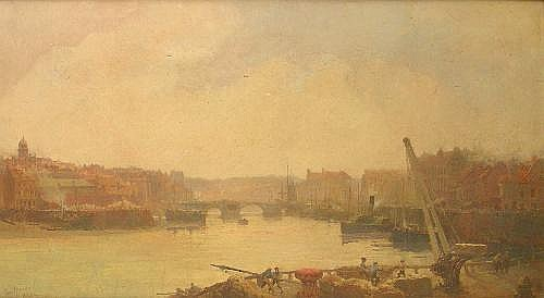 Paul Marny (1829-1914): 'Whitby' oil on canvas
