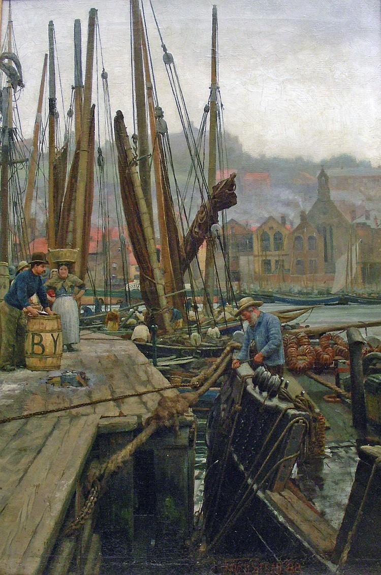 Fred Stead (1863-1940): Fishing boats alongside