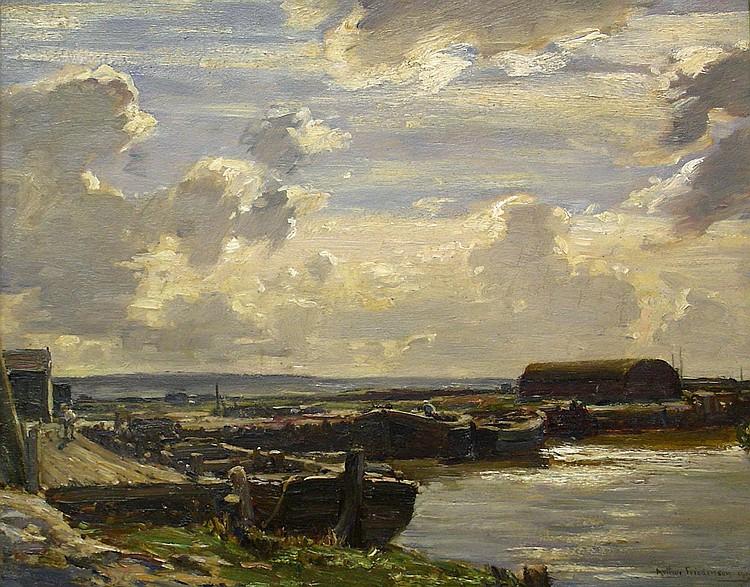 Arthur Friedenson (1872-1955): 'A River Quayside',