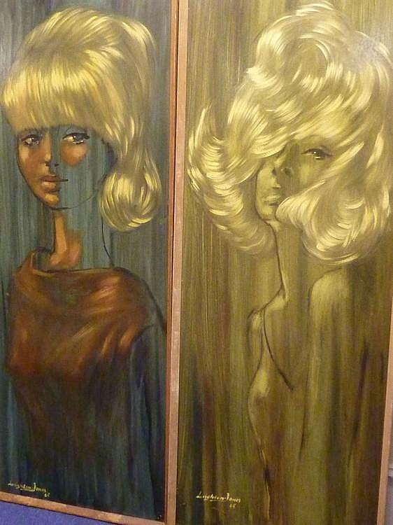 Studies of young women, pair oils on board signed