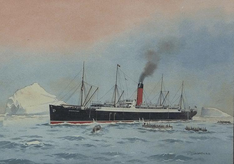 Colin James Ashford (1919-):  'The R M S Carpathia picking up survivors from the S S Titanic at dawn'