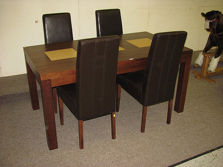 modern cherry dining table with light wood panels