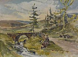 William Dealtry (1915-2008): Moorland Bridge, oil