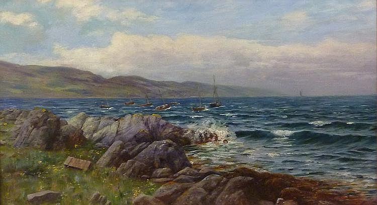 John D Taylor (fl.1876-1900): Coastal scene with