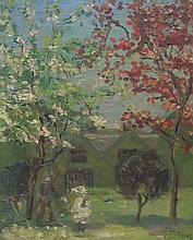Attrib. Elizabeth C Fisher Clay (American/British 1871-1959): Figures in the Garden, oil on canvas board bears signature 28cm x 23cm