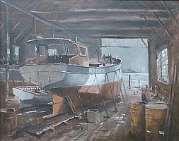 Colin Verity (1924-2011): 'Under Repair', oil on