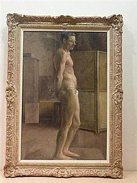 Harold Knight (1874-1961): Standing Male Nude, oil