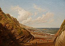 ATTRIBUTED TO JOHN BRETT (1831-1902) Figures on a rocky shore, oil on canva