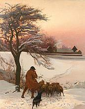 EDWARD FREDERICK BREWTNALL RWS RBS (1846-1902) A shepherd and his flock in