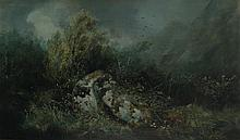 """WILLIAM WIDGERY (1822-1893) """"On the Moors"""", a study of two boulders surroun"""