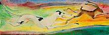 """•SVEN BERLIN (1911-1999) """"Hound and Hare"""", signed and dated '79 lower right"""