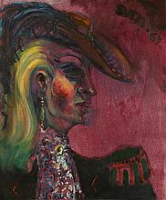 •SVEN BERLIN (1911-1999) A portrait of a lady in traditional hunting garb,