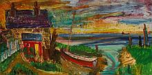 """•SVEN BERLIN (1911-1999) """"Isle of Wight"""" A study of a coastal cottage, sign"""