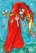 """•SVEN BERLIN (1911-1999) """"Butterfly Girl"""", monogrammed and dated '92 lower"""