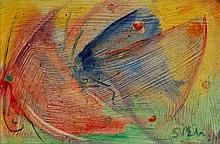 """•SVEN BERLIN (1911-1999) """"Mating Butterflies""""- Dorset period circa 1990, si"""