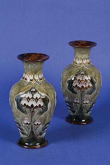 Eliza Simmance A Pair Of Royal Doulton Stoneware