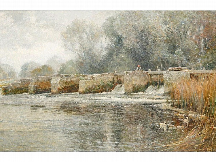 FREDERICK WHITEHEAD A weir on a river, probably