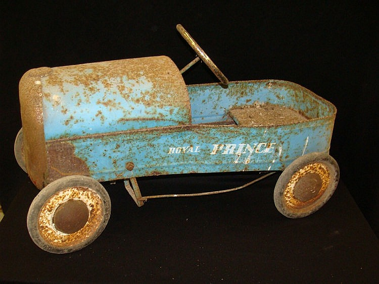 A Royal Prince pedal car finished in blue with