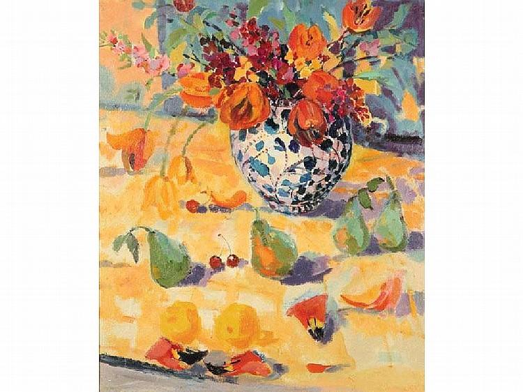 ELIZABETH JANE LLOYD Tulips and sweet peas,