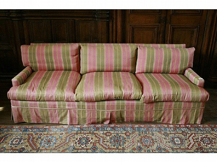 A THREE SEATER SOFA with striped red and green