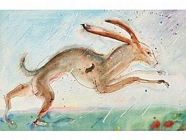 • SVEN BERLIN (1911-2000) Leaping hare, signed and