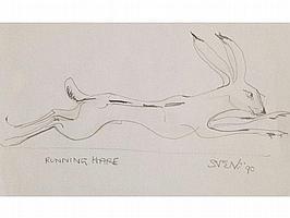 """• SVEN BERLIN (1911-2000) """"Running Hare"""", signed,"""