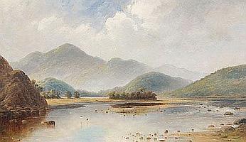 TR Attwood Waimakariri River, Westland Oil on