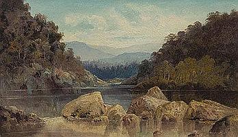 TR Attwood Untitled River Landscape Oil on board