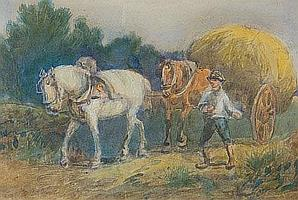 Hugh Verrall The Hay cart Watercolour Signed 19.5