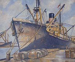 Frank Gross Taranaki Street Wharf Oil on board