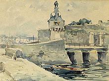 """Jean-Louis Le Toullec, (1908-1999). """"Le Port de Concarneau"""". Aquarelle sig"""