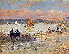 """Pierre Leonce Furt, (1870-1919). """"Le Port"""". Huile sur panneau signée en ba"""