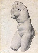 Celestin Nanteuil (1813-1873). Etude de torse féminin d'après l'Antique. De