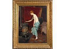 """Louise LANDRE (née en 1852 - ?) """"Auprès du poêle""""."""