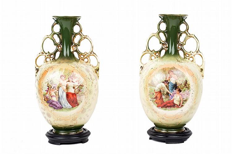 Pareja de jarrones de fayenza austr aca c 1900 decoraci n - Decoracion de jarrones ...