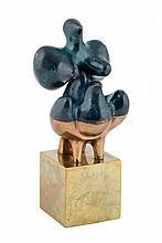 """BARÓN, FRANCISCO (1931 - 2006). """"Figura de dama articulada"""". Escultura en bronce con peana grabada con motivos pictóricos. Articulada. Firmada y numerada 153/200 en la peana. 22 x 8 x 8 cm"""