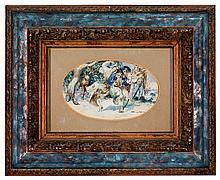 """MONGRELL MUÑOZ, BARTOLOME (1882 - 1938). """"Fiesta valenciana"""". Acuarela. Firmada en el ángulo inferior derecho. 10,5 x 18 cm"""